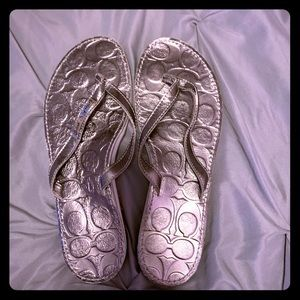 ✨NWOT✨Coach Poppy Sandal - Silver (8.5)